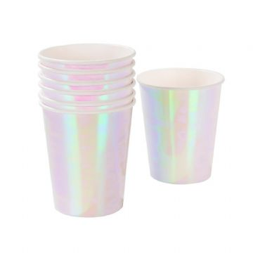 Iridescent Pink Party Cups - pack of 12
